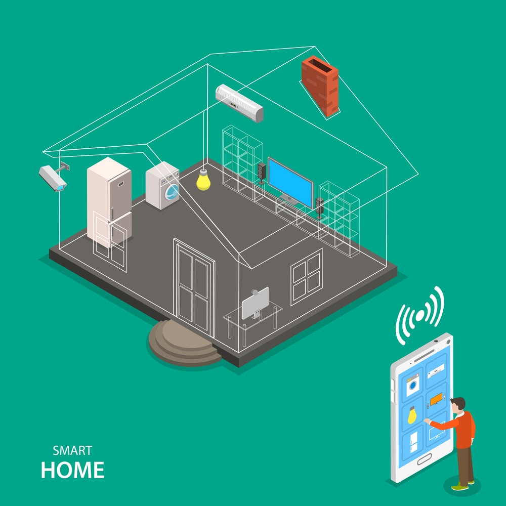 Smart home isometric flat vector concept